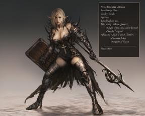 обоя фэнтези, эльфы, девушка, фон, взгляд, униформа, оружие