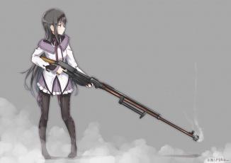обоя mahou shoujo madoka magika, аниме, девушка, взгляд, фон, оружие