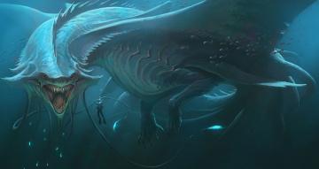 обоя фэнтези, существа, монстр, дракон, подводный, мир, аквалангист, пасть