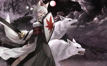 обоя аниме, touhou, оружие, inubashiri, momiji, арт, волки, луна, cloudy-r, ночь, девушка, ушки, меч