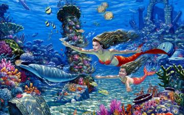 обоя фэнтези, русалки, русалка, рыбы, дельфин, дочь, развалины, дно