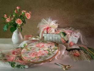 Картинка разное ремесла поделки рукоделие вышивка нитки ленты розы