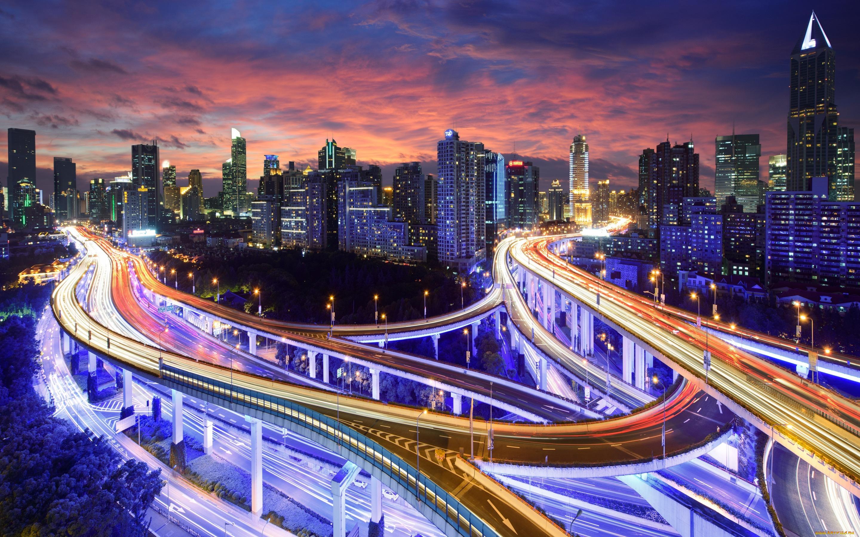 развязка огни ночь мост interchange lights night the bridge скачать