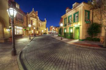Картинка города диснейленд ночь парки сша улица фонари дома
