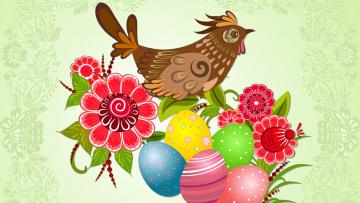 Картинка праздничные пасха цветы яйца курица