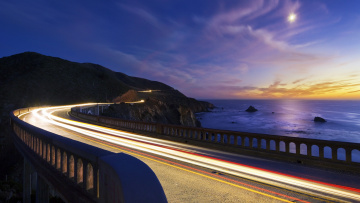 Картинка big sur california природа дороги pacific ocean тихий океан bixby bridge побережье
