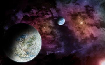 Картинка космос арт планеты звезды туманность