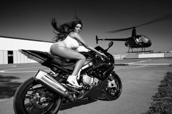 обоя мотоциклы, мото с девушкой, байк, девушка, мотоцикл, вертолет