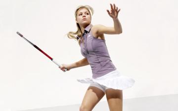 обоя спорт, теннис, девушка, ракетка, фон, взгляд