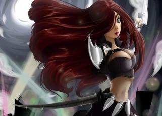 Картинка фэнтези девушки katarina league of legends арт грудь стойка кинжалы девушка волосы
