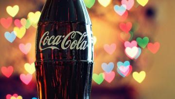 обоя бренды, coca-cola, бутылка, напиток, сердечки