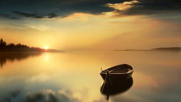 обоя корабли, лодки,  шлюпки, река, лето, лодка, закат, туман