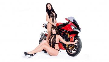 Картинка moto+girl+1 мотоциклы мото+с+девушкой girls moto красный