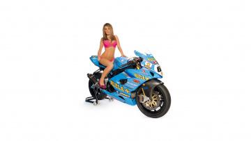 обоя moto girl 2, мотоциклы, мото с девушкой, girls, moto, синий