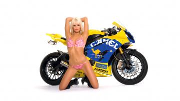 обоя moto girl 31, мотоциклы, мото с девушкой, girls, moto, желтый