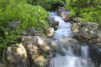 Картинка chicago botanic garden glencoe illinois природа водопады Чикагский ботанический сад гленко иллинойс каскад камни