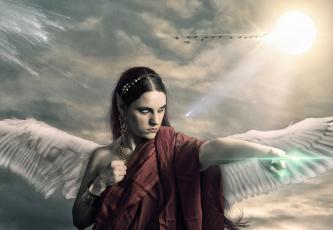 обоя фэнтези, фотоарт, девушка, фон, взгляд, крылья, эльф