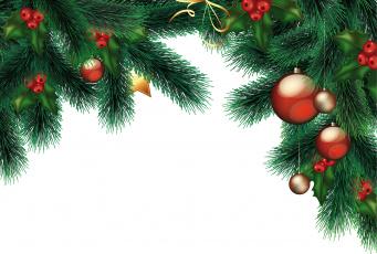 обоя праздничные, векторная графика , новый год, игрушки, ветки