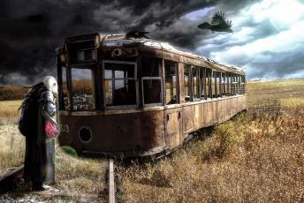 обоя фэнтези, фотоарт, человек, апокалипсис, противогаз, ворон, трамвай