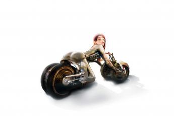 обоя фэнтези, роботы,  киборги,  механизмы, девушка, фон, взгляд, квадроцикл