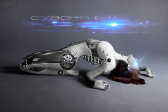 обоя фэнтези, роботы,  киборги,  механизмы, фон, девушка