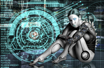 обоя фэнтези, роботы,  киборги,  механизмы, взгляд, фон, девушка