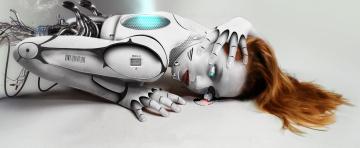 обоя фэнтези, роботы,  киборги,  механизмы, киборг, фон, девушка