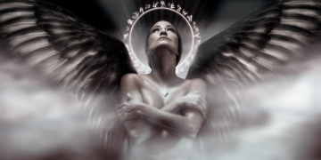 обоя фэнтези, ангелы, девушка, фон, крылья