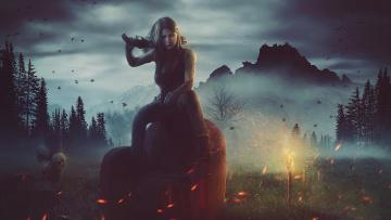 обоя фэнтези, девушки, оружие, огонь, трава, череп