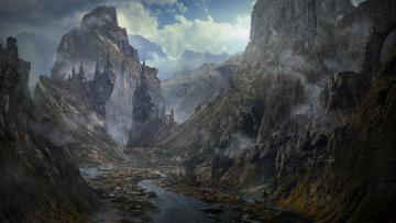 обоя фэнтези, замки, скалы, облака, дворец