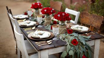 обоя интерьер, декор,  отделка,  сервировка, праздник, приборы, сервировка, розы