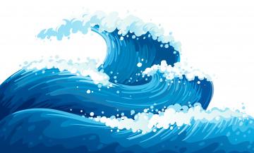 обоя векторная графика, природа , nature, волны, море
