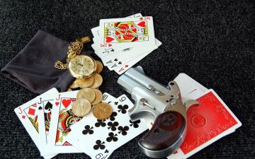 обоя разное, настольные игры,  азартные игры, часы, монеты, карты, револьвер