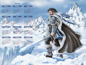 обоя календари, рисованные,  векторная графика, снег, доспехи, воин, скала, мужчина