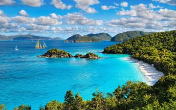 обоя природа, тропики, яхты, пляжи, море, облака, виргинские, острова