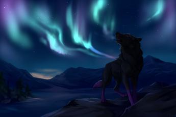 Картинка рисованные животные +волки горы северное сиянее волк ночь