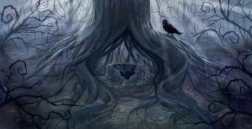 Картинка рисованные животные +птицы колодец дерево ворона