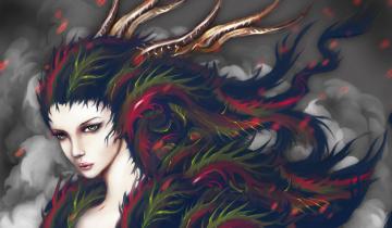 Картинка фэнтези существа дым девушка арт art