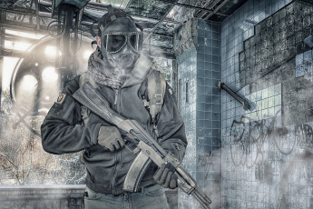 обоя оружие, армия, спецназ, противогаз, фон, лицо, мужчина, штурмовая, винтовка