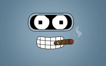 Картинка рисованное минимализм зубы глаза робот сигара