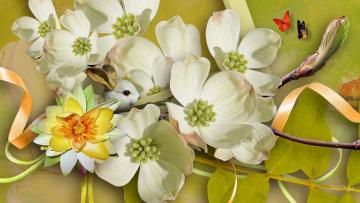 обоя разное, компьютерный дизайн, кролик, бабочки, цветы