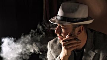обоя мужчины, - unsort, шляпа, дым, сигара