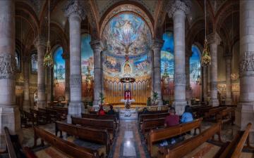 обоя интерьер, убранство,  роспись храма, колонна, храм, святого, сердца, религия, скамья, архитектура, испания, крипта, барселона