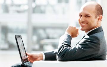 обоя мужчины, - unsort, ноутбук, улыбка