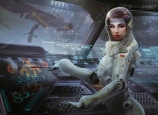 Картинка фэнтези девушки оператор operator девушка girl фантастика арт рисунок sci-fi astronaut космонавт