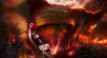 обоя фэнтези, девушки, девушка, огонь, смерч, город, маска, кровь, нож
