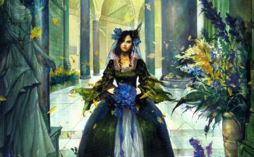обоя фэнтези, девушки, девушка, платье, цветы, дворец, статуя, колонны