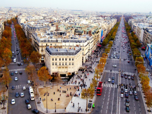обоя champs, elysees, paris, france, города