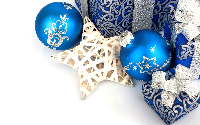 Открытка новый год синяя