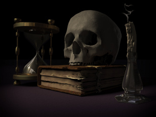 обоя фэнтези, нежить, череп, книга